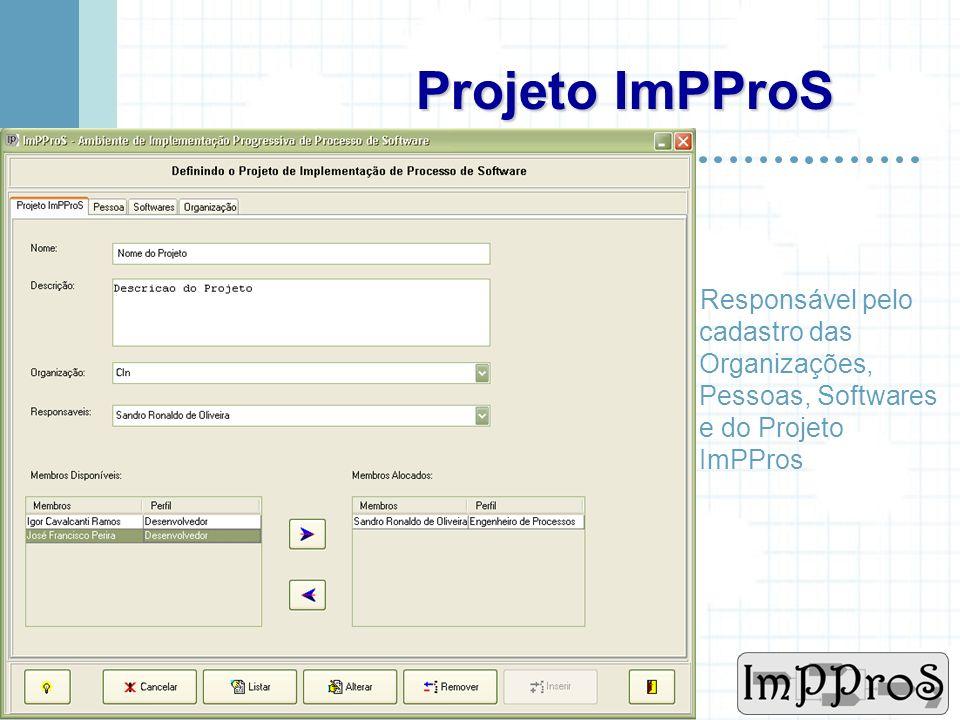 Projeto ImPProS Responsável pelo cadastro das Organizações, Pessoas, Softwares e do Projeto ImPPros.