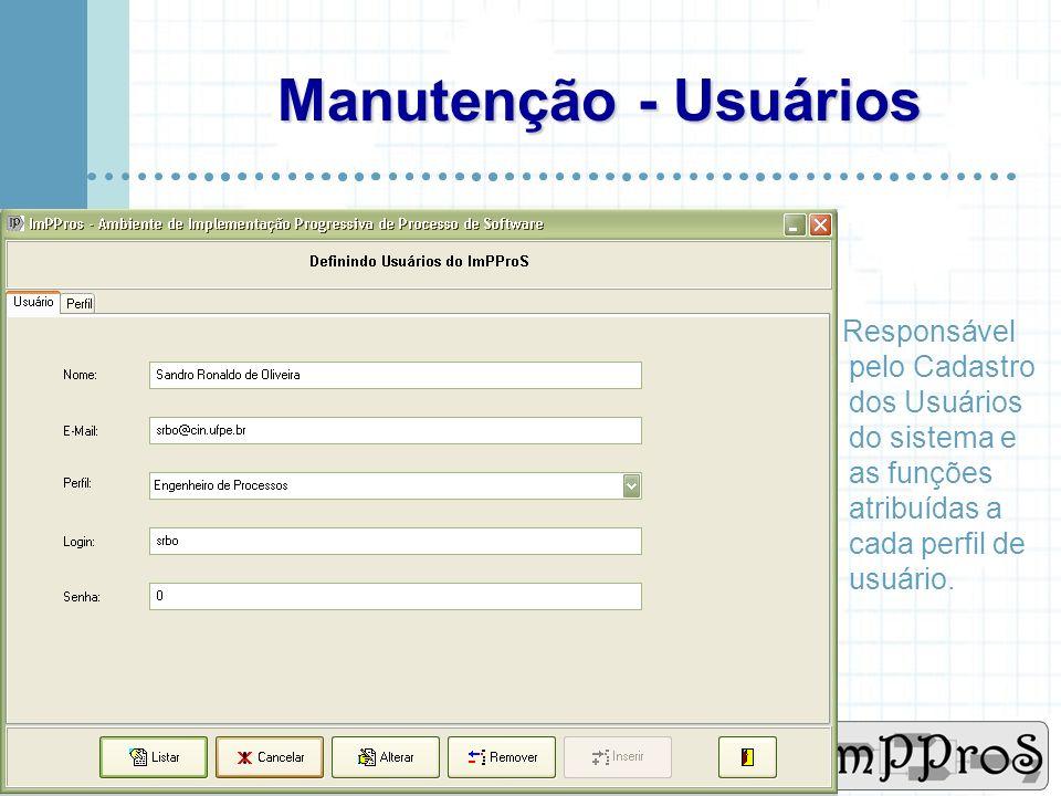 Manutenção - Usuários Responsável pelo Cadastro dos Usuários do sistema e as funções atribuídas a cada perfil de usuário.