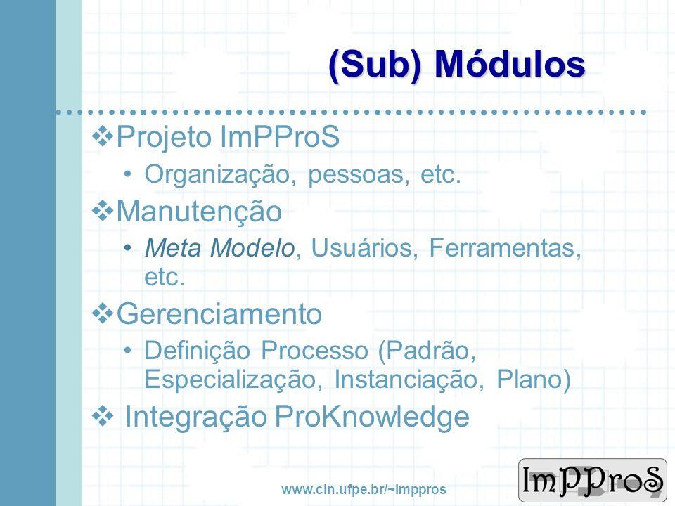 (Sub) Módulos Projeto ImPProS Manutenção Gerenciamento