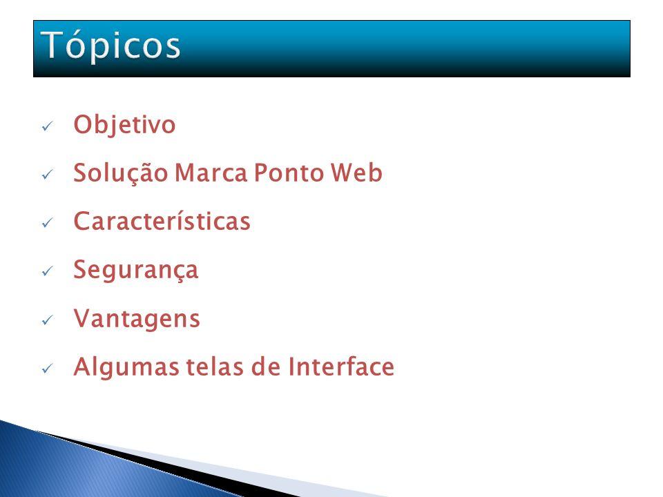 Tópicos Objetivo Solução Marca Ponto Web Características Segurança