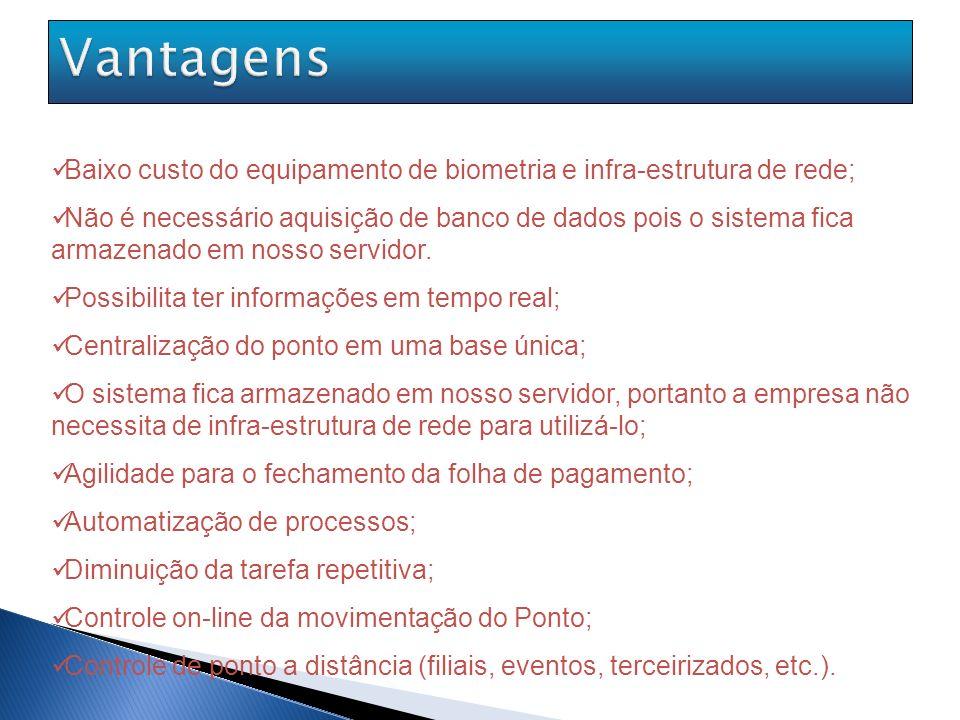 Vantagens Baixo custo do equipamento de biometria e infra-estrutura de rede;