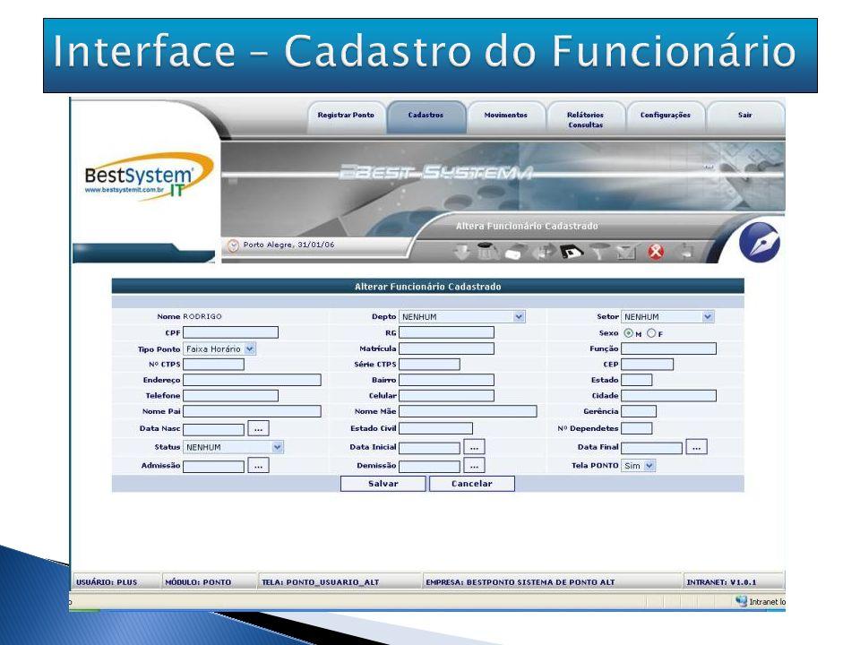 Interface – Cadastro do Funcionário