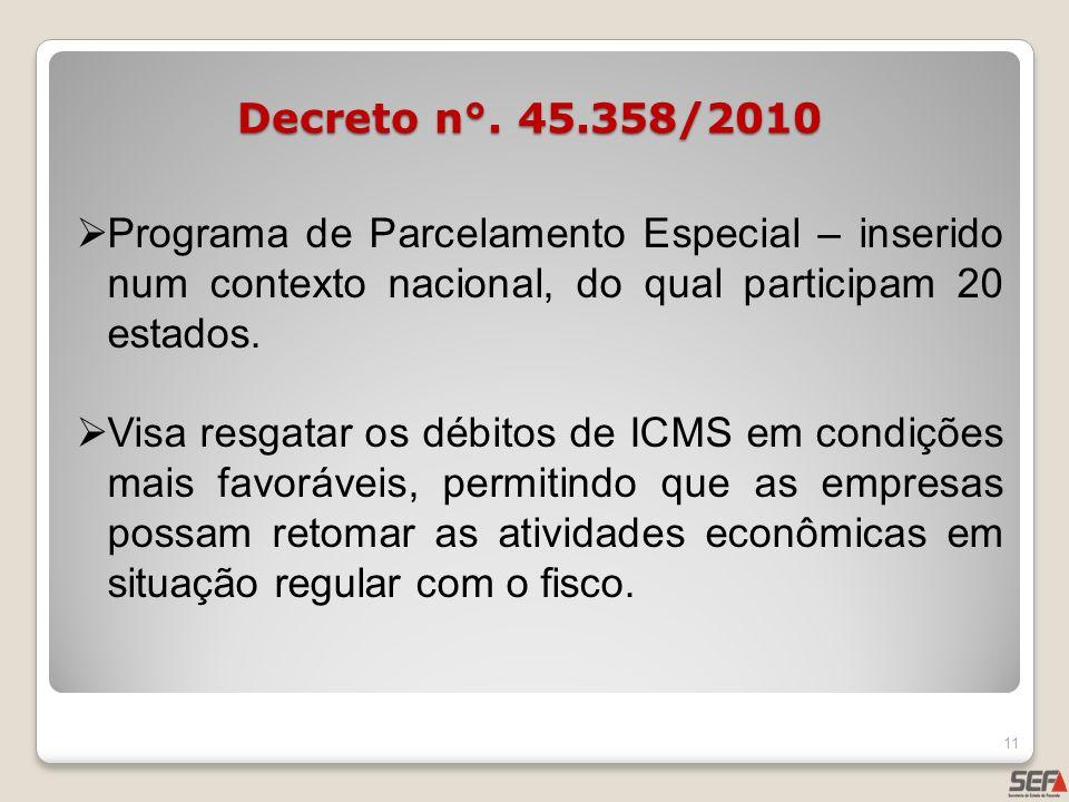 Decreto n°. 45.358/2010Programa de Parcelamento Especial – inserido num contexto nacional, do qual participam 20 estados.