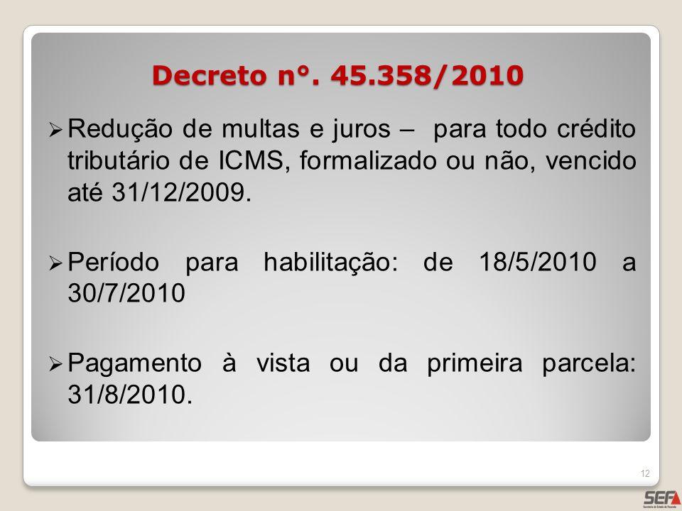 Decreto n°. 45.358/2010Redução de multas e juros – para todo crédito tributário de ICMS, formalizado ou não, vencido até 31/12/2009.