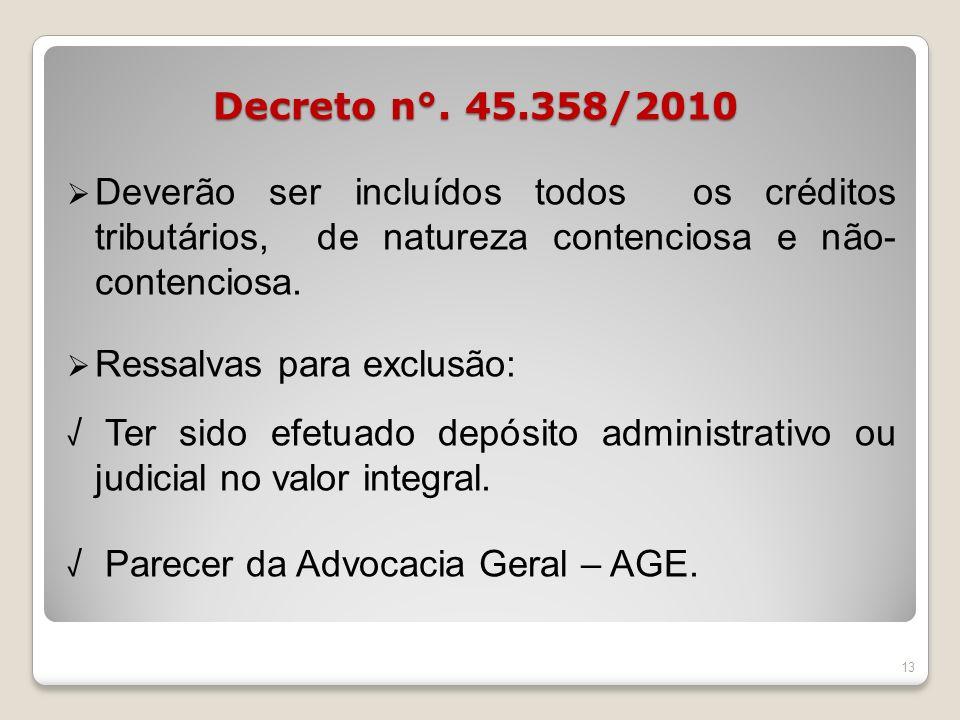 Decreto n°. 45.358/2010 Deverão ser incluídos todos os créditos tributários, de natureza contenciosa e não- contenciosa.