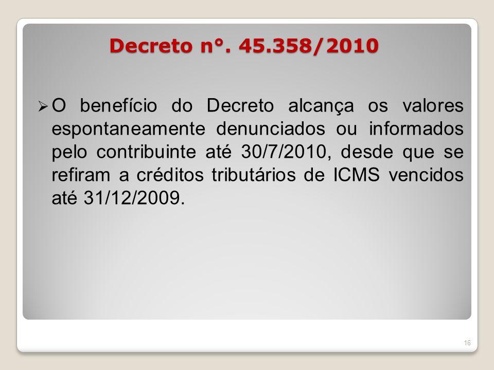 Decreto n°. 45.358/2010