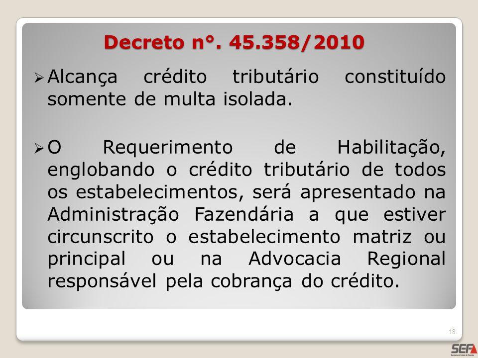 Decreto n°. 45.358/2010 Alcança crédito tributário constituído somente de multa isolada.