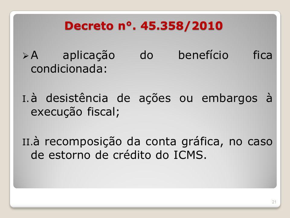 Decreto n°. 45.358/2010A aplicação do benefício fica condicionada: à desistência de ações ou embargos à execução fiscal;