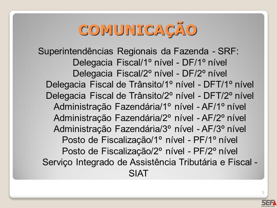 COMUNICAÇÃO Superintendências Regionais da Fazenda - SRF: