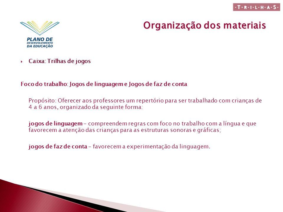 Organização dos materiais