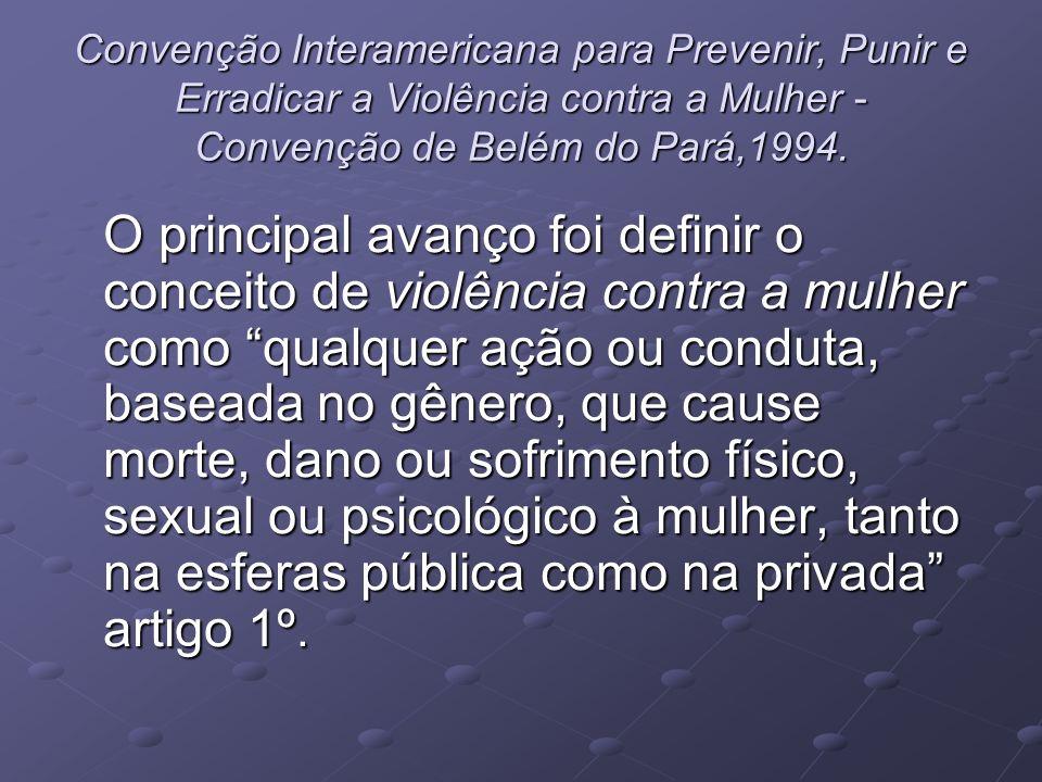 Convenção Interamericana para Prevenir, Punir e Erradicar a Violência contra a Mulher - Convenção de Belém do Pará,1994.