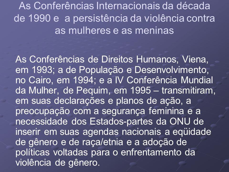 As Conferências Internacionais da década de 1990 e a persistência da violência contra as mulheres e as meninas