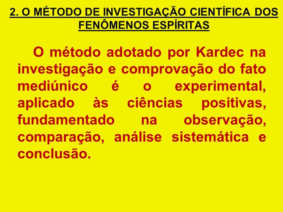 2. O MÉTODO DE INVESTIGAÇÃO CIENTÍFICA DOS FENÔMENOS ESPÍRITAS