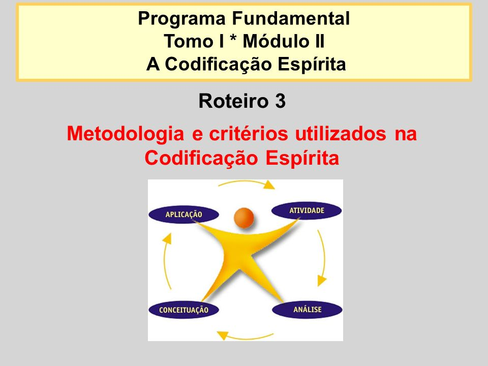 Roteiro 3 Metodologia e critérios utilizados na Codificação Espírita