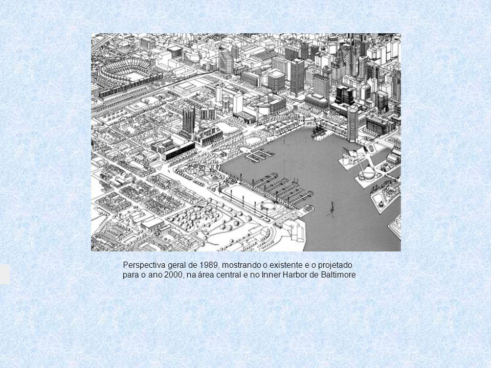 Perspectiva geral de 1989, mostrando o existente e o projetado para o ano 2000, na área central e no Inner Harbor de Baltimore