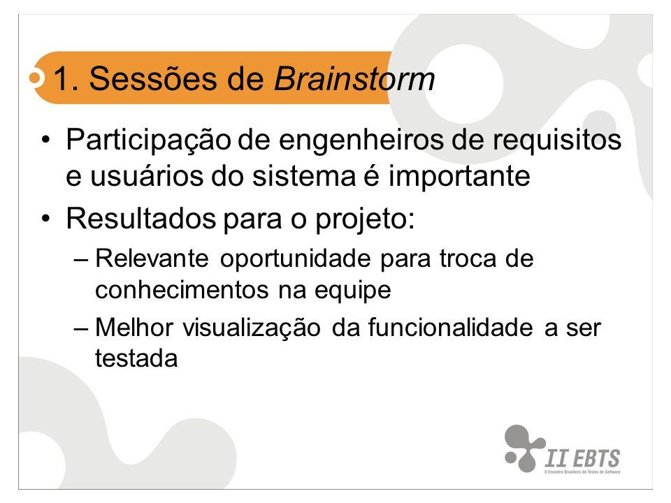 1. Sessões de Brainstorm Participação de engenheiros de requisitos e usuários do sistema é importante.