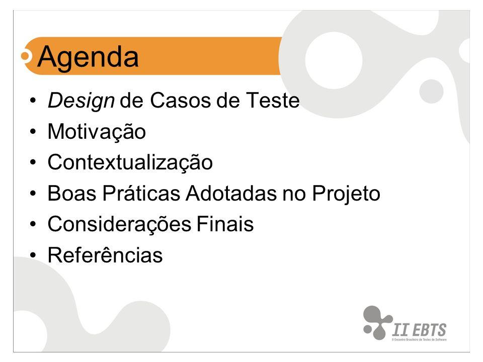 Agenda Design de Casos de Teste Motivação Contextualização