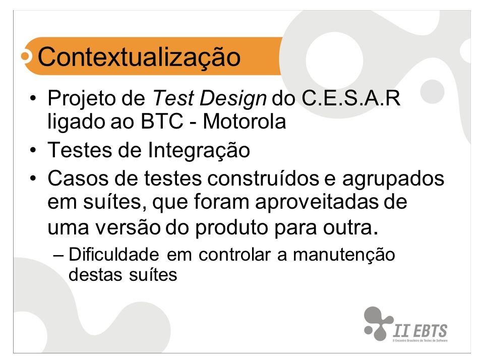 ContextualizaçãoProjeto de Test Design do C.E.S.A.R ligado ao BTC - Motorola. Testes de Integração.