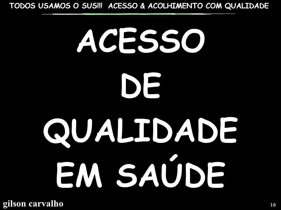 ACESSO DE QUALIDADE EM SAÚDE