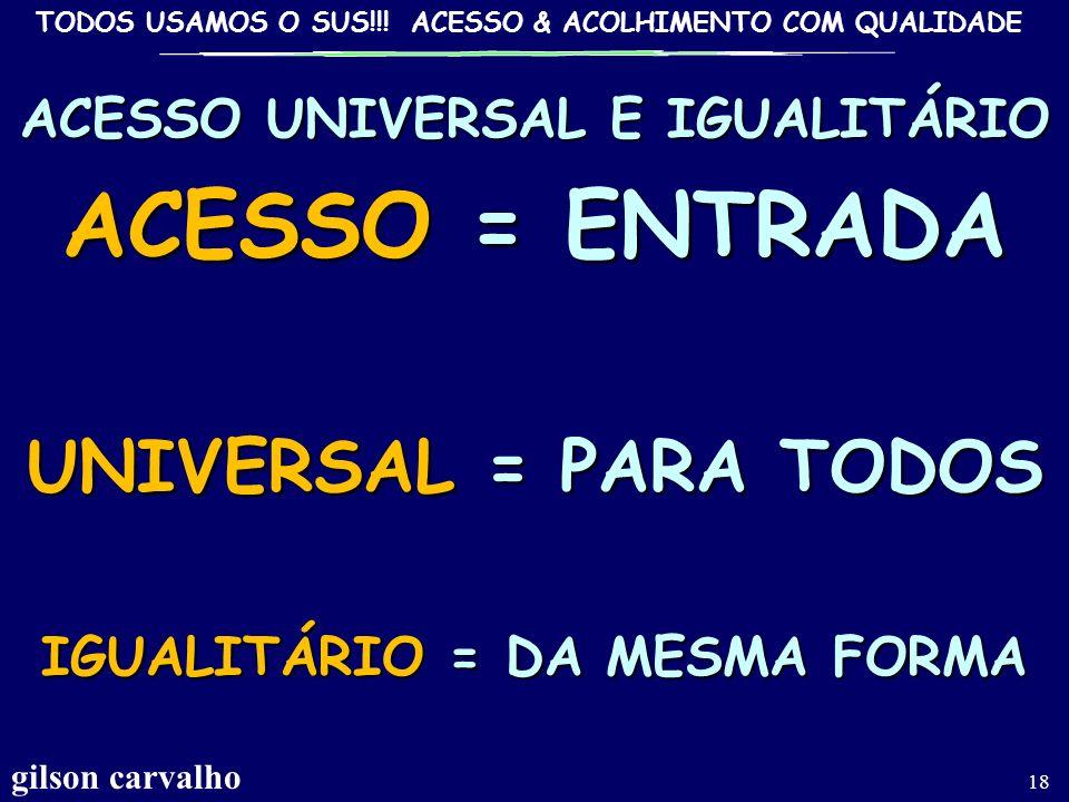 ACESSO UNIVERSAL E IGUALITÁRIO IGUALITÁRIO = DA MESMA FORMA