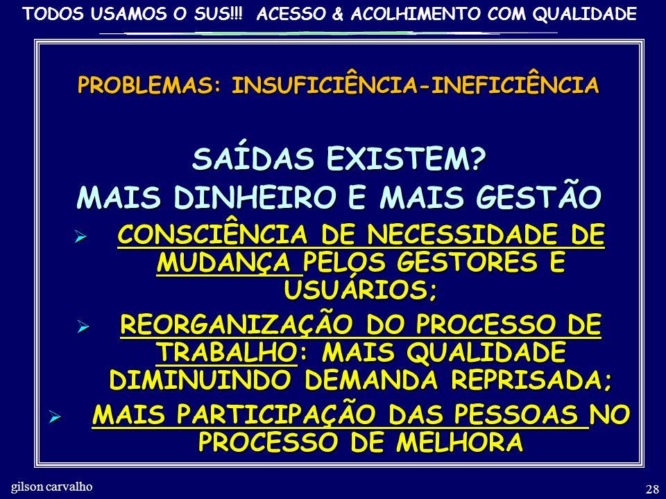 SAÍDAS EXISTEM MAIS DINHEIRO E MAIS GESTÃO