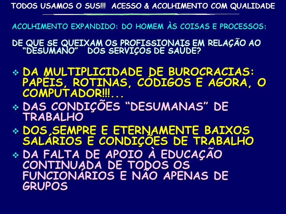 DAS CONDIÇÕES DESUMANAS DE TRABALHO