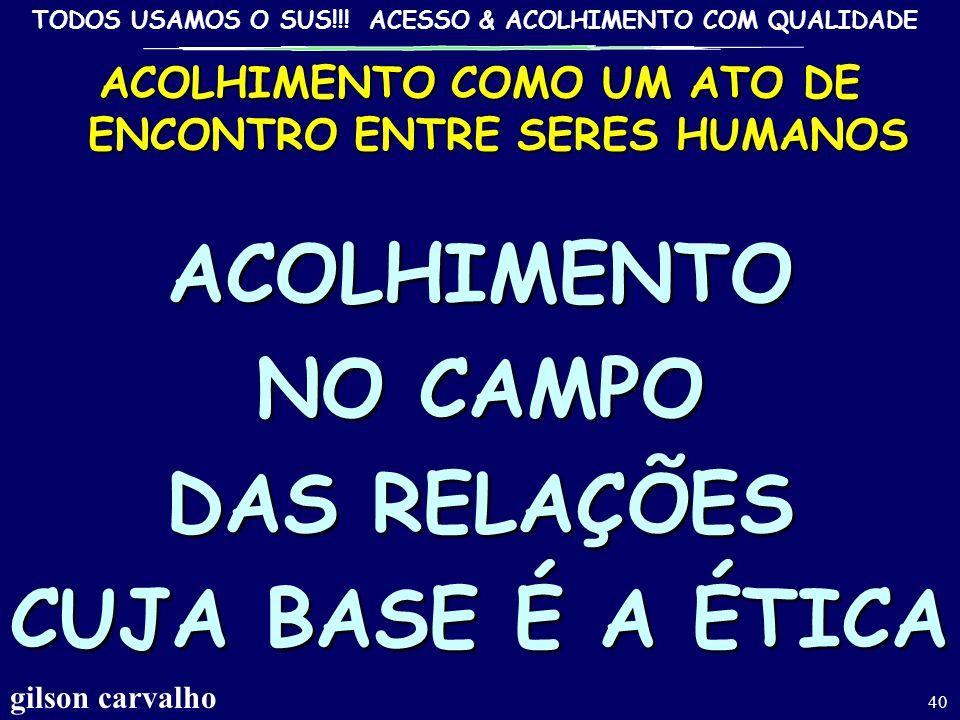 ACOLHIMENTO COMO UM ATO DE ENCONTRO ENTRE SERES HUMANOS