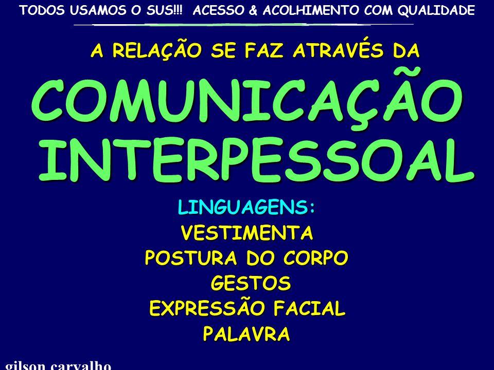 A RELAÇÃO SE FAZ ATRAVÉS DA COMUNICAÇÃO INTERPESSOAL
