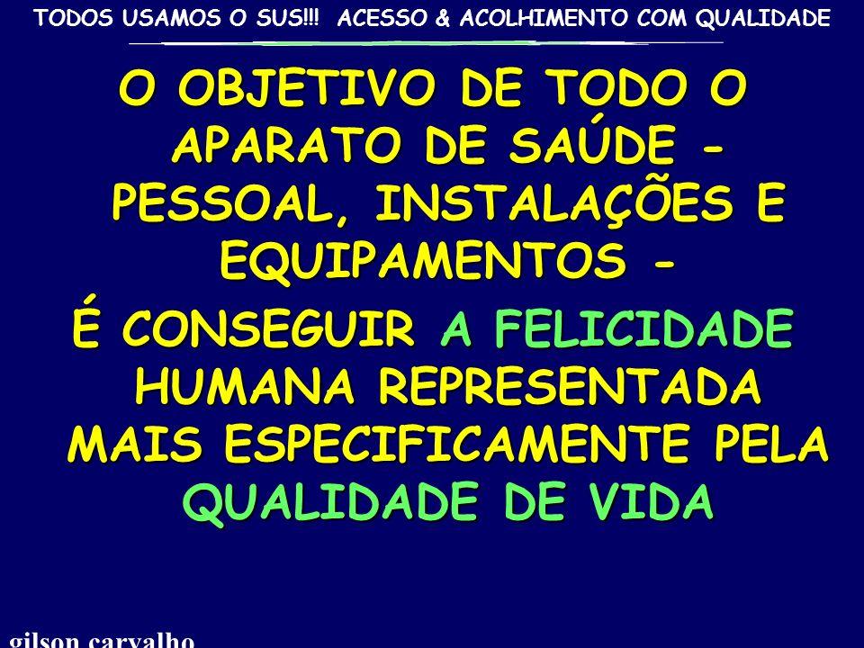 O OBJETIVO DE TODO O APARATO DE SAÚDE - PESSOAL, INSTALAÇÕES E EQUIPAMENTOS -