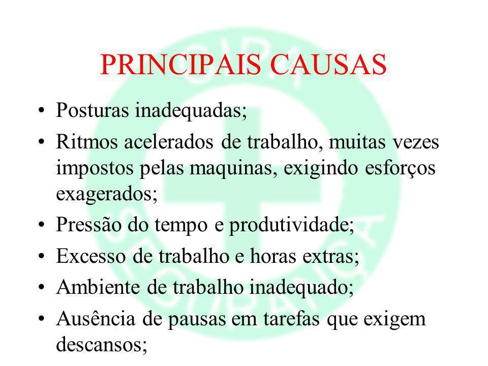 PRINCIPAIS CAUSAS Posturas inadequadas;