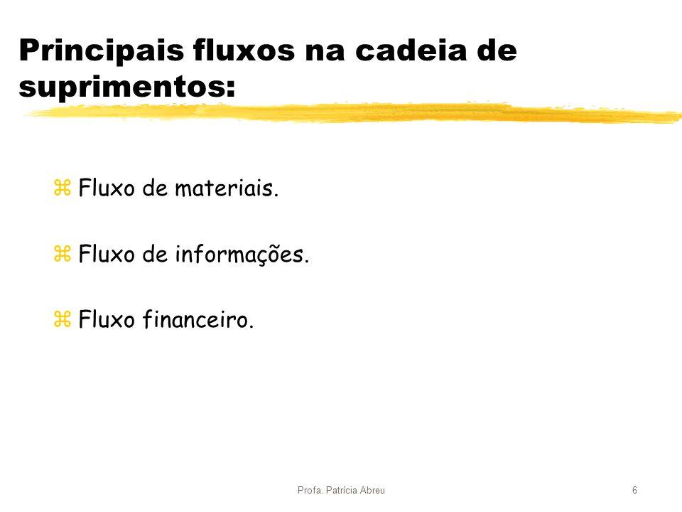 Principais fluxos na cadeia de suprimentos: