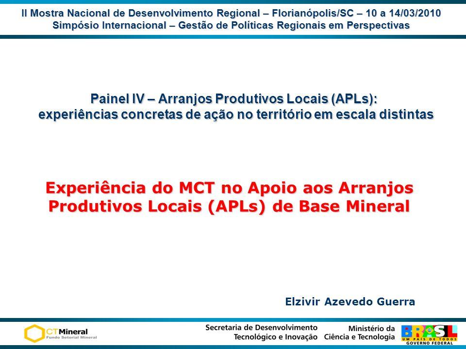 II Mostra Nacional de Desenvolvimento Regional – Florianópolis/SC – 10 a 14/03/2010