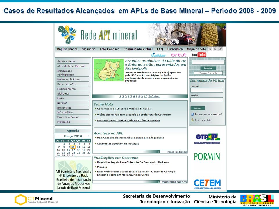 Casos de Resultados Alcançados em APLs de Base Mineral – Período 2008 - 2009