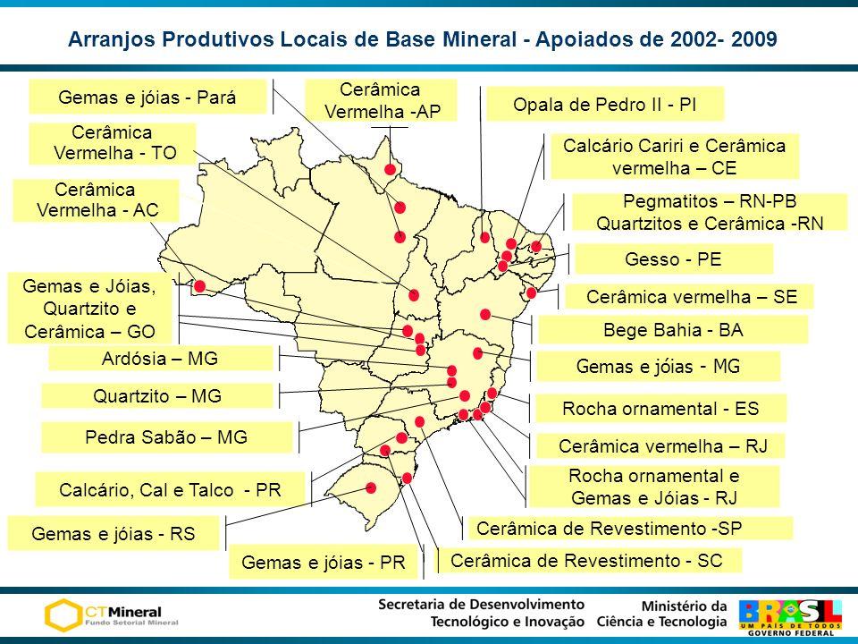 Arranjos Produtivos Locais de Base Mineral - Apoiados de 2002- 2009