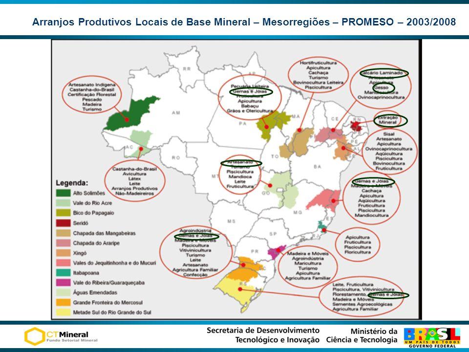 Arranjos Produtivos Locais de Base Mineral – Mesorregiões – PROMESO – 2003/2008