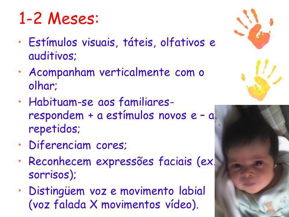 1-2 Meses: Estímulos visuais, táteis, olfativos e auditivos;