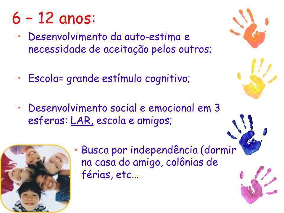 6 – 12 anos: Desenvolvimento da auto-estima e necessidade de aceitação pelos outros; Escola= grande estímulo cognitivo;