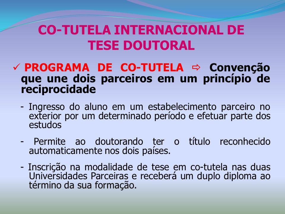 CO-TUTELA INTERNACIONAL DE TESE DOUTORAL