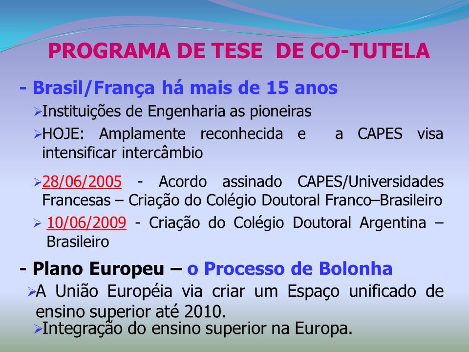 PROGRAMA DE TESE DE CO-TUTELA