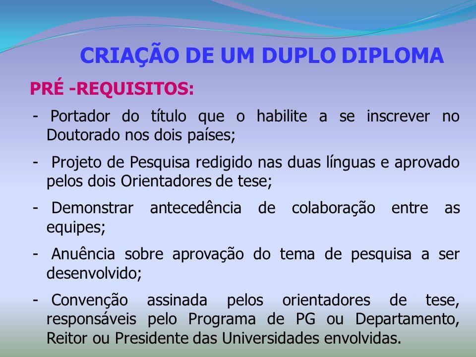 CRIAÇÃO DE UM DUPLO DIPLOMA