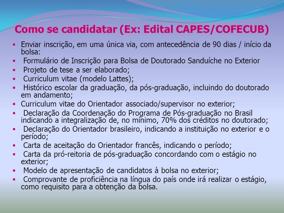 Como se candidatar (Ex: Edital CAPES/COFECUB)