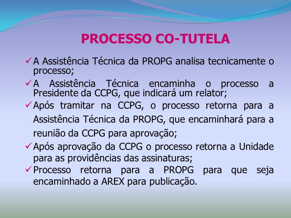 PROCESSO CO-TUTELA A Assistência Técnica da PROPG analisa tecnicamente o processo;