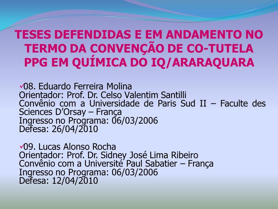 TESES DEFENDIDAS E EM ANDAMENTO NO TERMO DA CONVENÇÃO DE CO-TUTELA PPG EM QUÍMICA DO IQ/ARARAQUARA