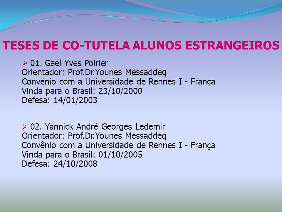 TESES DE CO-TUTELA ALUNOS ESTRANGEIROS