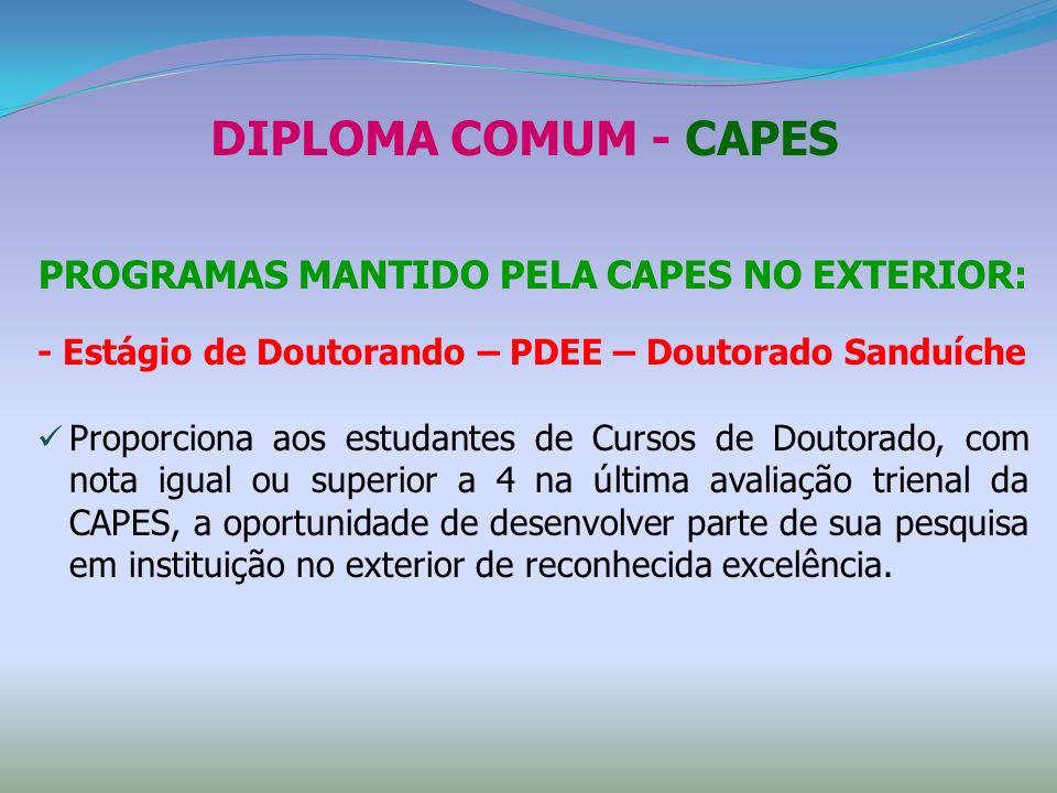 PROGRAMAS MANTIDO PELA CAPES NO EXTERIOR: