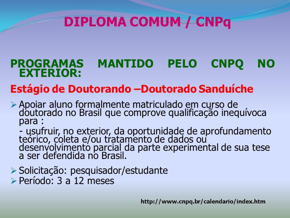 DIPLOMA COMUM / CNPq PROGRAMAS MANTIDO PELO CNPQ NO EXTERIOR: