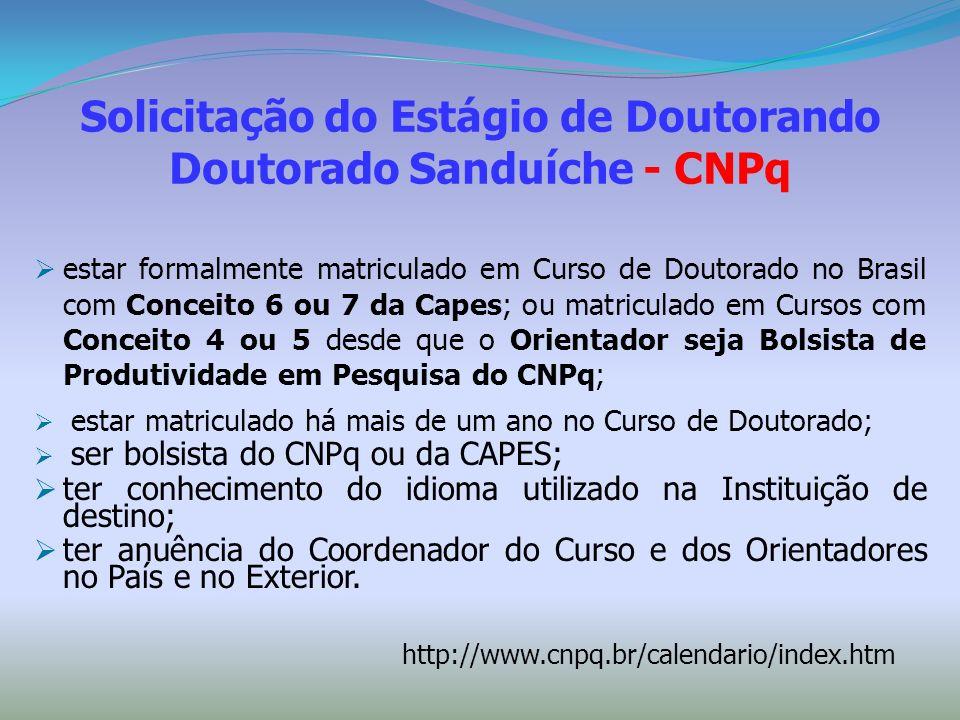 Solicitação do Estágio de Doutorando Doutorado Sanduíche - CNPq