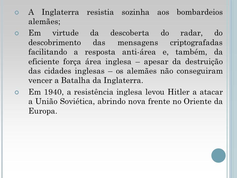 A Inglaterra resistia sozinha aos bombardeios alemães;
