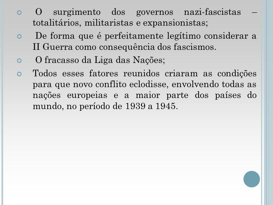 O surgimento dos governos nazi-fascistas – totalitários, militaristas e expansionistas;