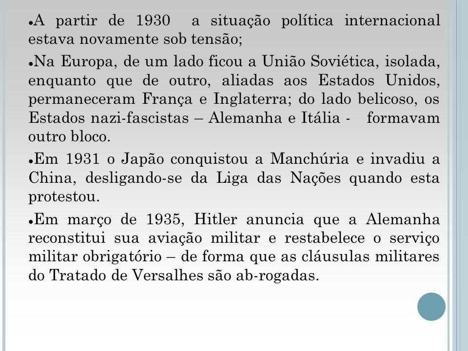 A partir de 1930 a situação política internacional estava novamente sob tensão;